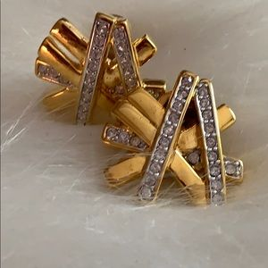 Kenneth Jay Lane Jewelry - Vintage K.J.L. Gold Tone Pave Crystal Earrings